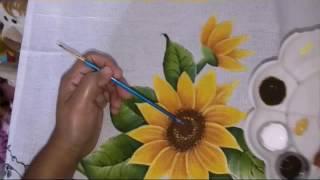 Pintura em tecido girassol