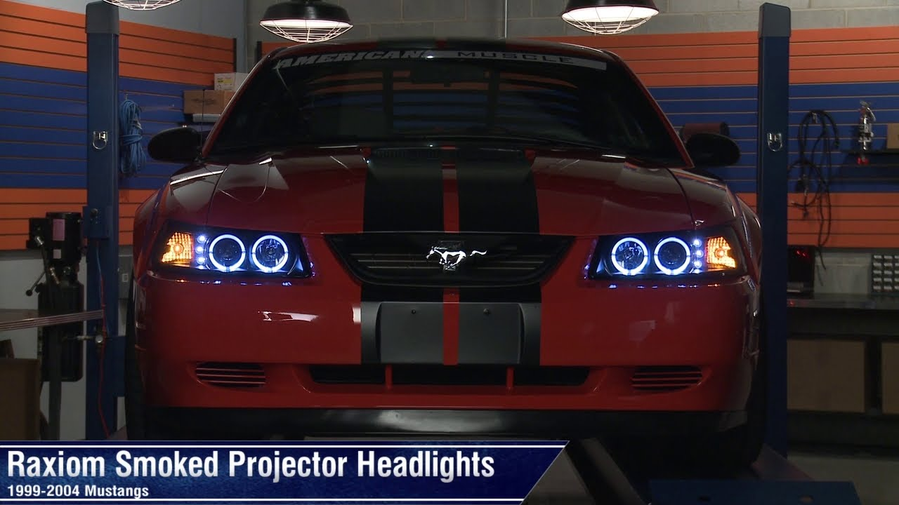 Mustang Raxiom Smoked Projector Headlights Dual Ccfl