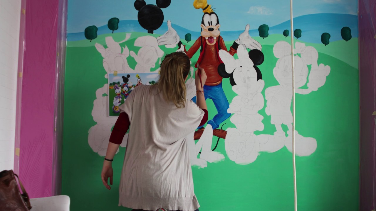 Disney characters Time lapse wall muralspainting YouTube
