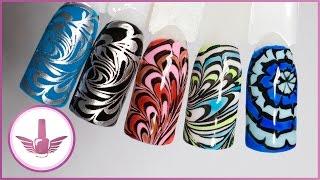 Водный маникюр на гель-лаке? Дизайн ногтей: Раскрашенный стемпинг витражными гель-лаками