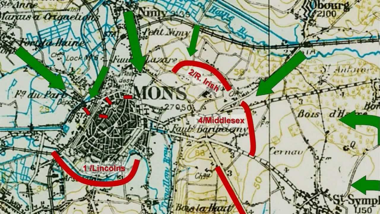 World War 1 History: The Battle of Mons—The BEF's First ... on living in mons belgium, world map brussels belgium, map of france in ww1, charleroi belgium, shape belgium, map of sandhurst, map of mons brussels, map of mons france, map of hayling island, map of ludgershall,