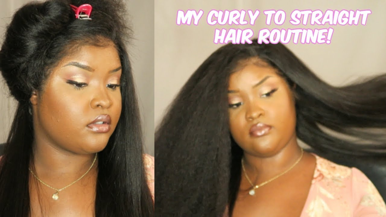 My curly to straight hair routine! Made easy! NATURAL HAIR SUPER SLEEK AND STRAIGHT!
