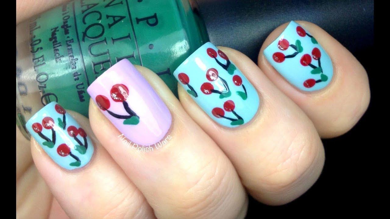 cherry nail art design diy time-lapse