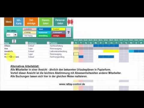 Urlaubsplan, Fehlzeitenplan, Abwesenheitsplan mit Excel Kalender (auch für Projektplanung)