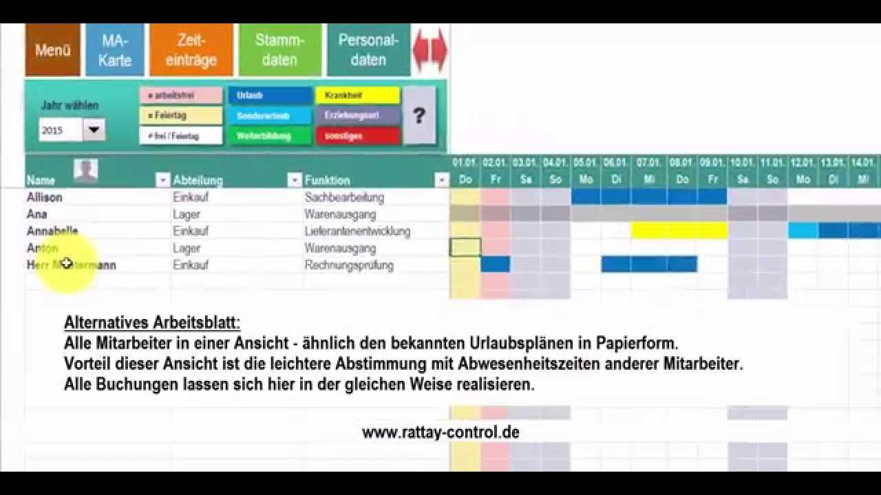 Urlaubsplan, Fehlzeitenplan, Abwesenheitsplan mit Excel Kalender ...