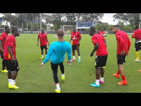 Ghana's Black Stars players in competition in training at the 2014 World Cup