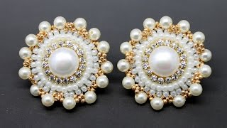 Жемчужные серьги из бисера в технике вышивка DIY Pearl Earrings