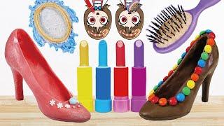 Edible Lipstick Chocolate Makeup Mukbang ASMR KOYA and NEMI