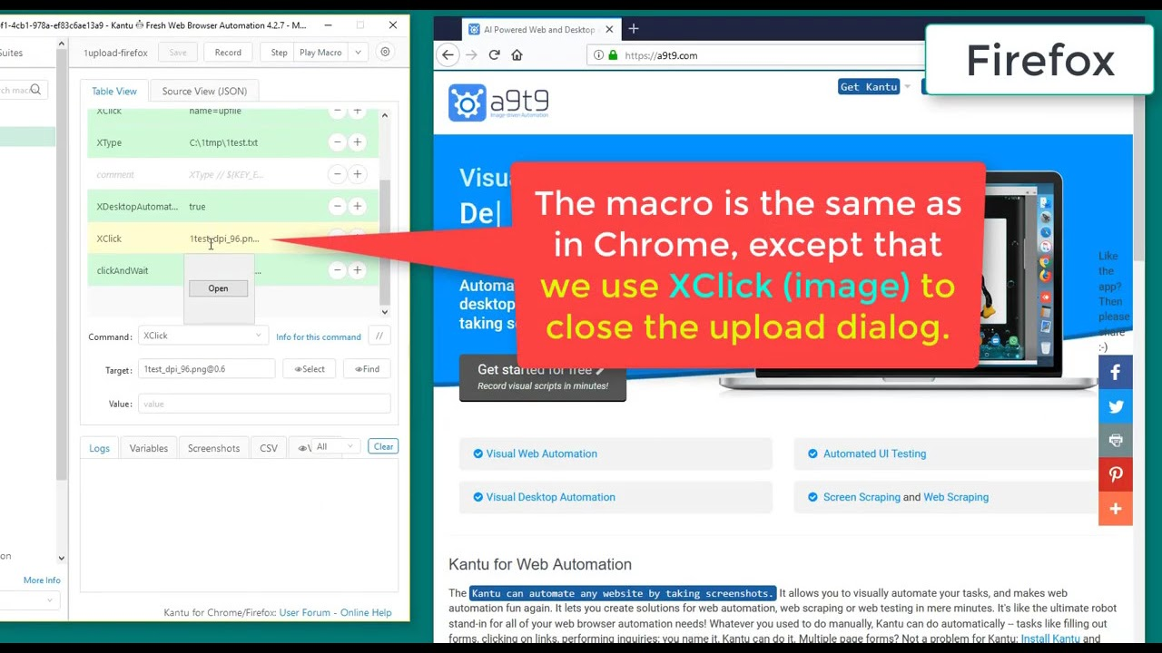 How to automate File Uploads in Chrome and Firefox with the Kantu Selenium  IDE