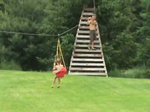 300 Foot ZIP LINE From House To Tree Pretty Fast MUST SEE EPIC BEATS WIN