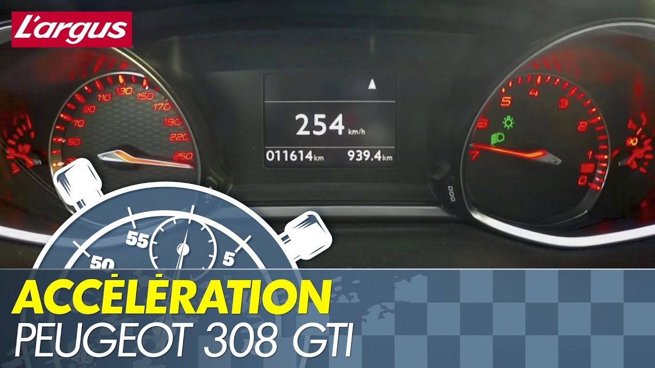 acceleration 0-254 km/h : peugeot 308 gti 270 hits rev limiter in