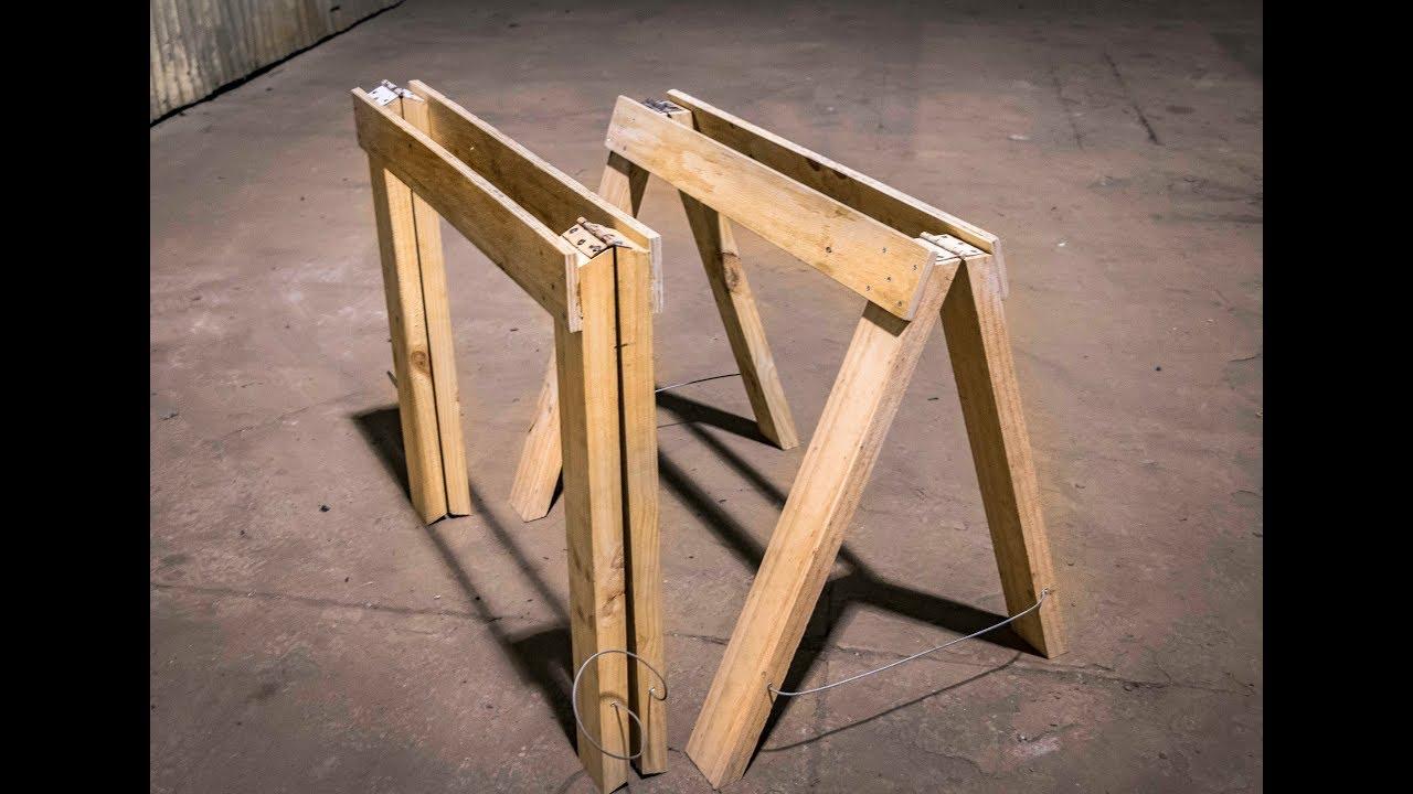 C mo hacer caballetes plegables de madera muy resistentes youtube Caballetes para mesa