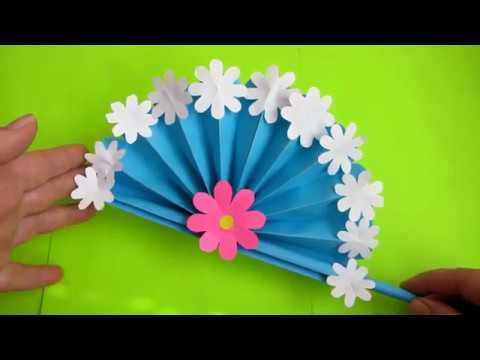 Diy Paper Craft How To Make Hand Fan Out Of Color Papers Arts And Crafts Jh