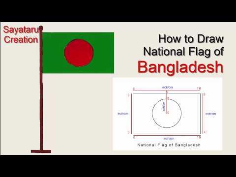 How to draw National Flag of Bangladesh. easy Flag art and color- Sayataru Creation