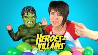 Heroes & Villains Surprise Eggs Game #4 w/ Batman Toys, Justice League Toys, Spiderman Toys