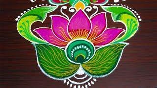simple lotus rangoli for pongal - beautiful flower kolam with 8x2 dots - sankranthi muggulu