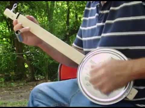 One String Banjo Homemade Cookie Tin Canjo With Eye Bolt