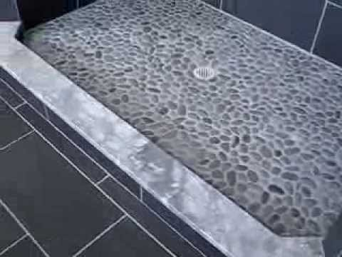 how to install porcelain wall and floor tile  pebble stone grouted     how to install porcelain wall and floor tile  pebble stone grouted shower  flooring finished bathroom   YouTube