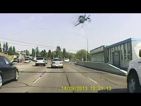 Dashcam View Of Downtown Calgary (Macleod Trail)