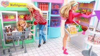 Barbie Rapunzel Grocery Shopping Doll House Morning Belanja bahan makanan Compras de supermercado