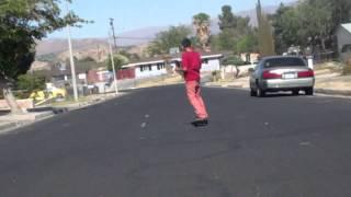 Skater gets chased by big dog.