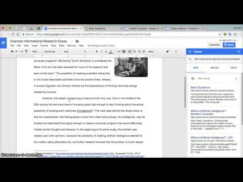 Citations Tool in Google Docs 2017
