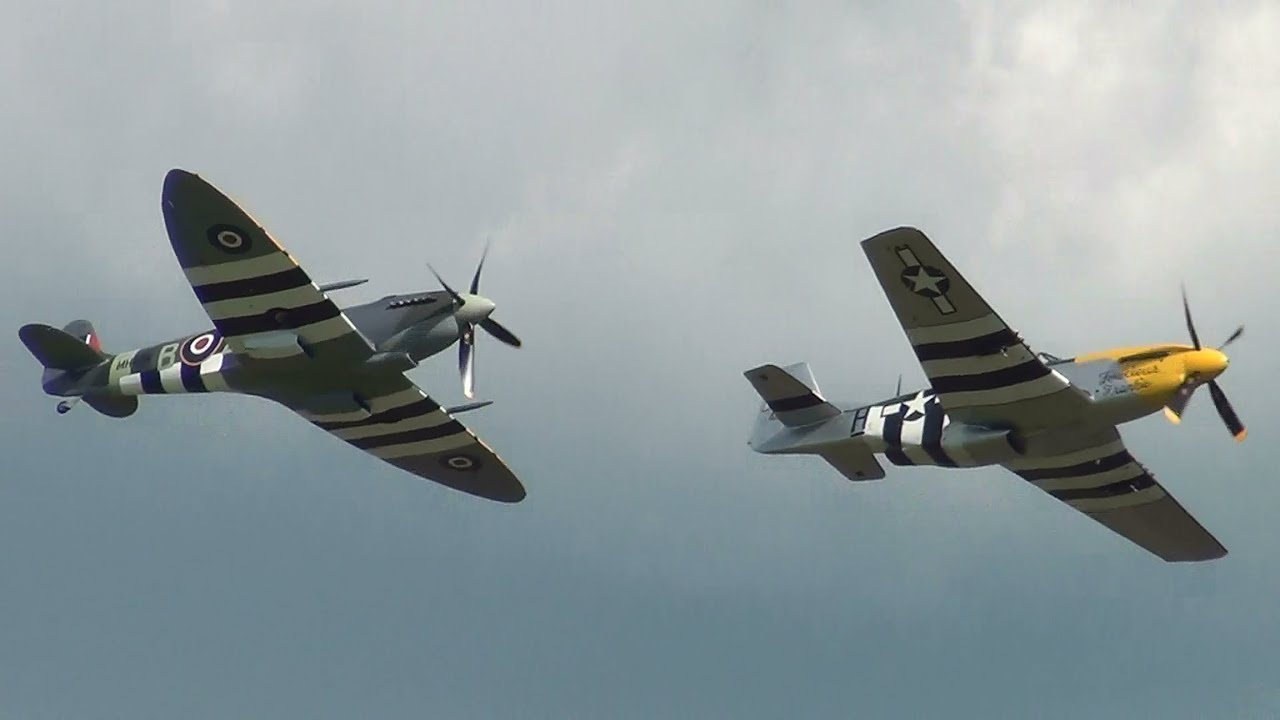 P 51D Mustang And Spitfire MkIX At Duxford 25th May 2014
