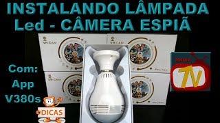 INSTALANDO - Câmera Espiã IP 1080P IR LED Lâmpada Câmera 360 Graus WiFi sem Fio P2P