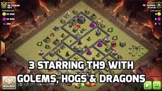 3 Starring an Anti 3 Star Base with GoHo & Dragons TH9 Low Heroes | Mister Clash | Clash of Clans