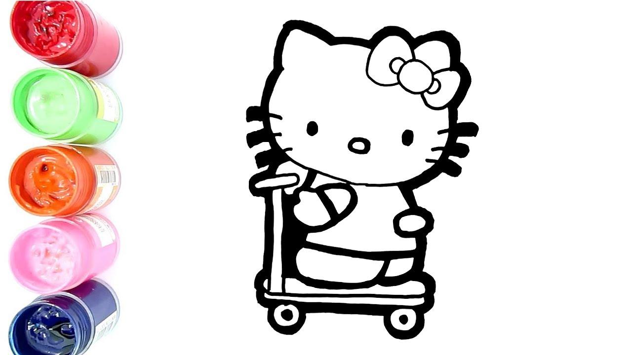 Cara Menggambar Dan Mewarnai Hello Kitty Naik Scooter Dengan Cat Air