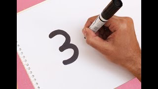 How to turn Number 3 into a Cartoon MONKEY ! Fun with Number Drawing for kids