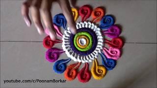 Easy rangoli patterns - 3   Small, quick and easy rangoli designs   Easy Rangoli by Poonam Borkar