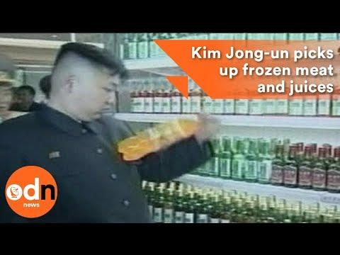 Kim Jong-un picks up frozen meat and juices in North Korean supermarket