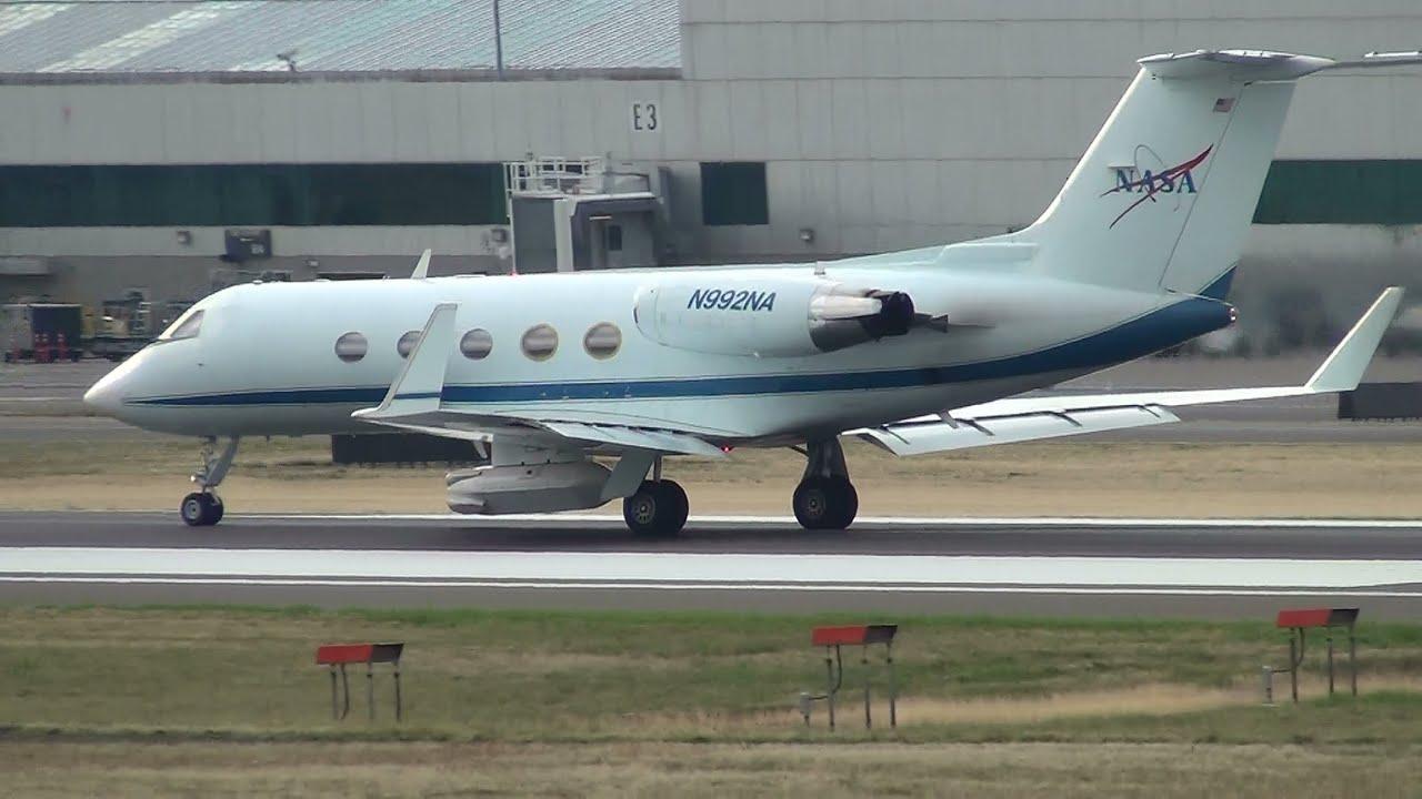NASA Gulfstream III [N992NA] Smoky Takeoff Portland ...