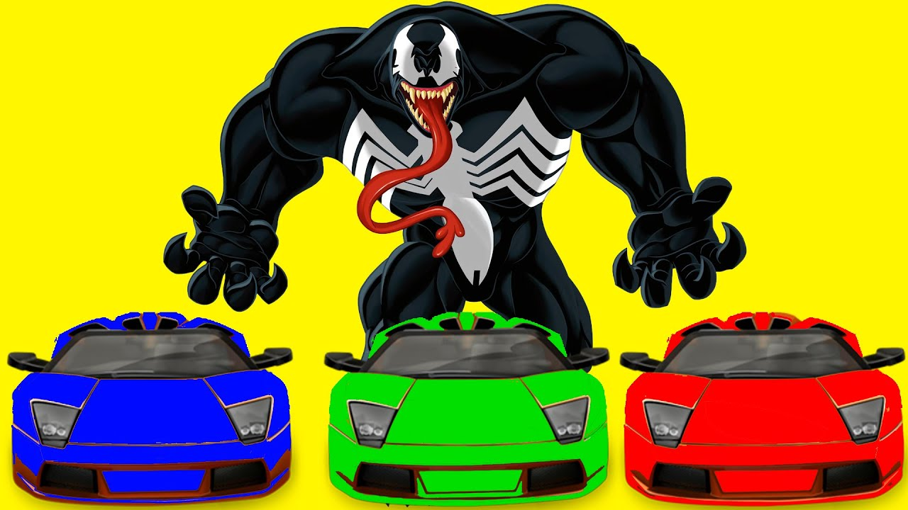 COLORS CARS & SPIDERMAN AND VENOM & Nursey Rhymes Songs for kids with action