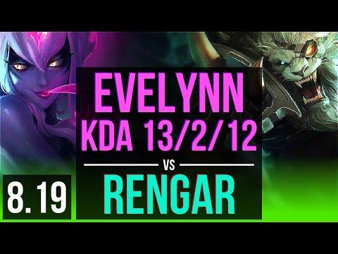 EVELYNN vs RENGAR (JUNGLE) | KDA 13/2/12, Legendary | Korea Master | v8.19
