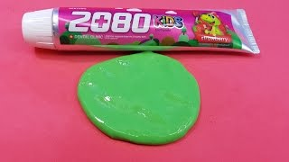 Toothpaste Kids Slime with Salt !!! , NO GLUE, NO BORAX, 2 Ingredients Toothpaste Slime thumbnail