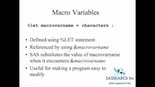 Advanced SAS Programming Part 1 -  Macro Programming