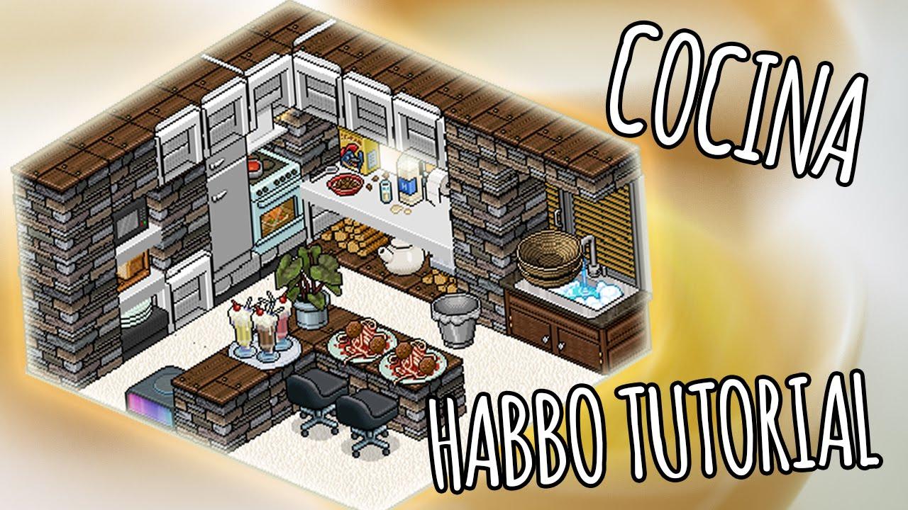 Habbo construcci n cocina pap oso habbo youtube for Casa moderna habbo