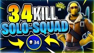 34 KILL SOLO SQUAD! World Record Attempt #2! (Fortnite Battle Royale)