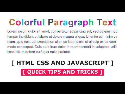 Colorful Paragraph Text | Html CSS and Javascript