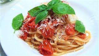 Любимое Блюдо Детей и Взрослых Спагетти с Помидорами и Базиликом Итальянская кухня .