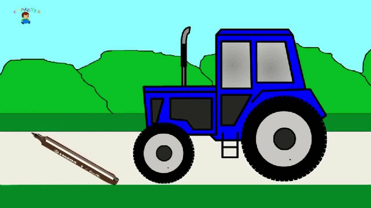 Das Malbuch Traktor Farben Lernen Auf Deutsch