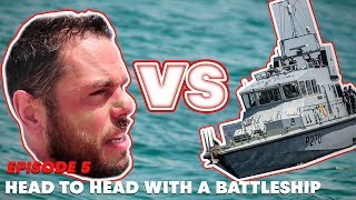 Head to head with a battleship. | Ross Edgley's Great British Swim: E5