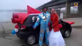 В день космонавтики жених приехал за невестой на ракете
