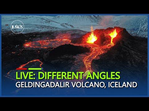 Live : Spectacular Scenes of  Geldingadalir Volcano seen from Langihryggur, Iceland