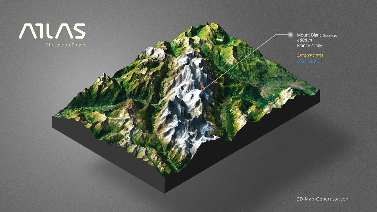 From Google Maps to 3D Map in Photoshop - 3D Map Generator - Atlas on