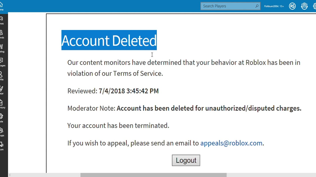 Account Deleted Fishbum2004 Roblox Youtube