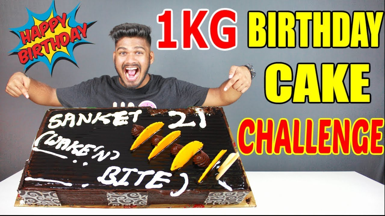 1KG BIRTHDAY CAKE CHALLENGE CHOCOLATE CAKE EATING COMPETITION