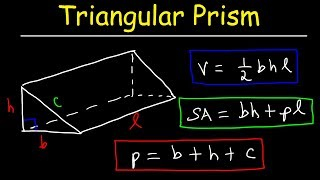 Triangular Prism - Volume, Surface Area, Base and Lateral Area Formula, Basic Geometry Video